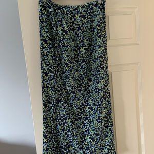 Straight print midi skirt